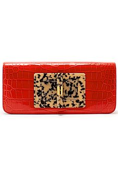 06b9a8b2f9 Tom Ford red little clutch with animal print tortoiseshell center clasp