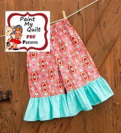 INSTANT DOWNLOAD Girls Ruffled Pants Pattern PDF , Capris Pattern Pattern  Sewing Tutorial pdf sizes 6m through to 8 years Annie Pants
