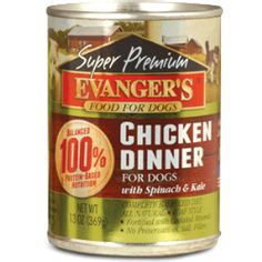 Evanger's Chicken Dinner is formulated to meet the nutritional levels established by the AAFCO nutrient profiles for all life stages. Puppies, pregnant and nursing dogs may require 2-3 times above amounts, and reduced for less active or older dogs. Amount of food your dog requires depends on activity, age, environment and breed. Chicken Dinner is certified Kosher for Passover by the cRc