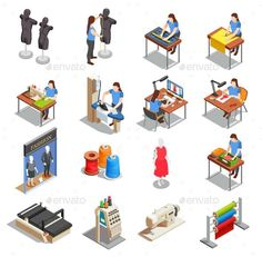 Sewing Factory Isometric Icons Set - Envato Market #vector #VectorGraphics #business #BusinessVector #graphicdesign #graphic #GraphicRiver #graphicdesigner #BestDesignResources