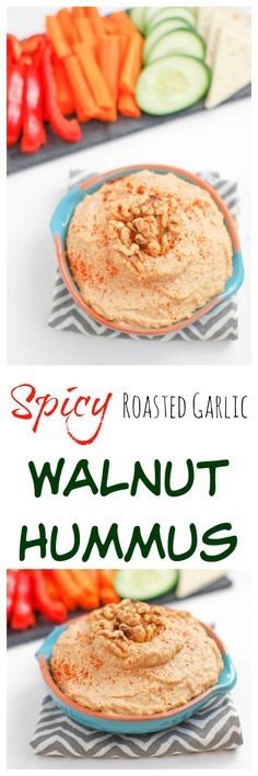 This Spicy Roasted Garlic Walnut Hummus is heart-healthy and packed with flavor. Makes the perfect snack or appetizer! #ad @cawalnuts