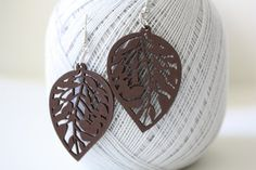 Brown Leaf Filigree Cut  Wood earring Naturally Beauty by muiwish, $5.50