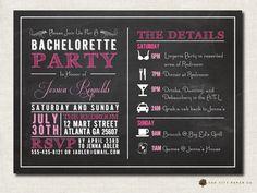 Bachelorette Invitation - Chalkboard Themed Bachelorette Party Invitation, Bachelorette Itenerary, Girls Weekend Template - Printable on Etsy, $18.00