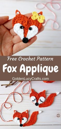 Crochet Fox Applique, Free Pattern - - Learn how to make this cute crochet Fox applique! The face of this Fox is made in the shape of a heart, and it will be perfect for Valentine's Day decorations. Crochet Flamingo, Crochet Butterfly Pattern, Crochet Applique Patterns Free, Crochet Elephant, Crochet Motifs, Crochet Blanket Patterns, Crochet Appliques, Crochet Shawl, Crochet Sloth