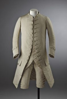Man's cream silk wedding suit, 18th century, part of the costume collection at Ham House, Surrey.