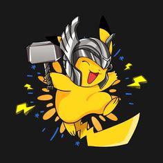 Pikachu Thor Pokemon T-Shirt - Cosmos Pokemon Fan Art, Pokemon Mashup, Pokemon Crossover, Ghost Pokemon, Pokemon T, Pikachu Pikachu, Pikachu Memes, Deadpool Pikachu, Pokemon Backgrounds