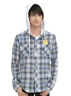 -I know this is supposed to be a guys shit but I really like it.    CARTOON NETWORK ADVENTURE TIME FINN HOODED WOVEN BUTTON-UP