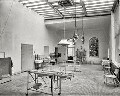 "Operating room in Brooklyn Navy Yard Hospital."" New York circa 1900"