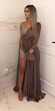Wedding Guest Dresses For Every Seasons And Style ★ wedding guest dresses one shoulder with slit hilalsaygilicouturee