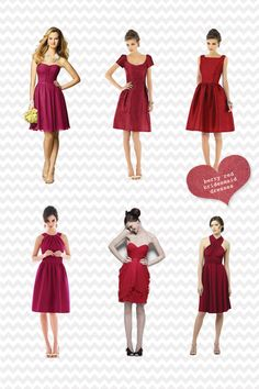 Fall 2012 wedding color trends. Berry red bridesmaid dresses.