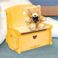 """Doll Furniture Storage Bin & Seat DIY Woodcraft Pattern #1989 - Easy to assemble. No tools or hardware required. Just slide the pieces together for a sturdy attractive Storage Bin and Seat for your dolls. 16""""H x 17""""W x 10""""D. Pattern by Sherwood Creations  #woodworking #woodcrafts #pattern #doll  #craft #furniture"""