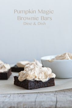 Pumpkin Magic Brownie Bars with Pumpkin Magic Frosting from Kristen at DineandDish
