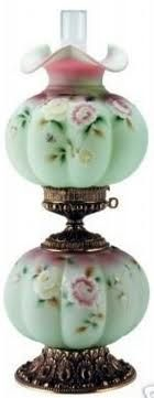 """Fenton """"Rose Nectar"""" Gone-weth-the Wind lamp Antique Oil Lamps, Old Lamps, Antique Lighting, Vintage Lamps, Antique Hurricane Lamps, Fenton Lamps, Fenton Glassware, Antique Glassware, Chandeliers"""
