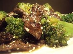 Beef & Broccoli Crock Pot  Ingredients  1 packet onion mushroom soup mix  10 oz frozen broccoli  1 1/4 cups water  2 tbsps soy sauce  3 tsps unpacked brown sugar  16 oz lean beef stew meat  Directions  1.Add meat, water, & soy sauce to pot  on low 6 hours.  2.Add broccoli  sugar 30 mins before serving.  3.Serve over rice or noodles,