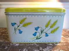 Vintage Breadbox Kitchen Tin Wheat and Blue Bell Flowers Bread Box Yellow Housewares