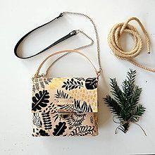 Kabelky - Eva black leaves (kožená kabelka - ručne maľovaná) - 8914873_
