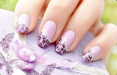 Love the Lavender and rhinestones, but don't really like the leopard print for nails.