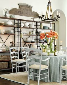 Inspired by the French, this dining space packs in tons of storage with three of our Toulouse bookcases ERINS PLACE Decor, Room Design, Interior, Dining, Dining Room Design, Breakfast Room, Home Decor, Dining Room Decor, Rustic Dining