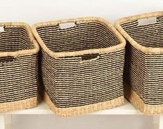 Baskets, woven with colour, stories & craft in Africa by TheBasketRoom Woven Laundry Basket, Linen Baskets, Washing Basket, Baskets For Shelves, Storage Baskets, Basket Weaving, Hand Weaving, Ikea Cubes, Square Baskets