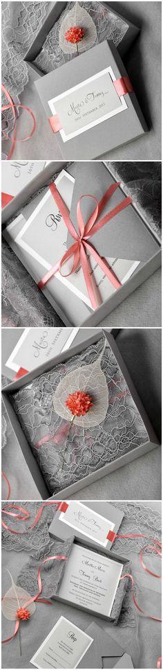 Grey Lace Wedding Invitation in a box #grey #weddingideas #lace #romantic #weddinginvitations #elegant #shadesofgrey #wedding #coral #flower