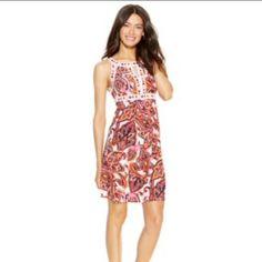 Inc Printed Keyhole Halter Dress