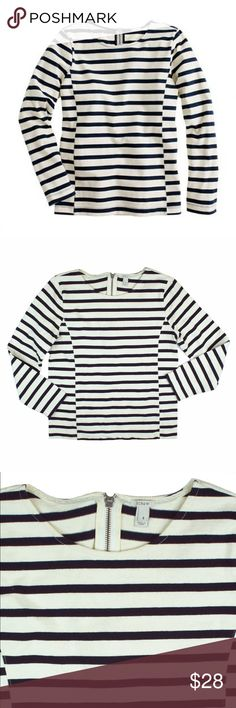 """JCREW Ivory & Navy Stripe Side Seam Sailor Top Excellent condition! This ivory and navy blue side seam sailor top from JCREW features a slim fit, bracelet length sleeves, and a zipper closure behind the neckline. Made of 100% cotton. Measures: bust: 35"""", total length: 22"""", sleeves: 20"""" J. Crew Tops"""