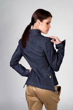Woman jacket Blue Lagoon denim jacket sexy jacket by IBISboutique