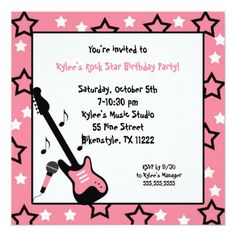 Rock Star Birthday Party Invites Pink Square