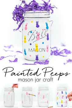 Peeps Mason Jar. Painted Peeps on Mason Jars. Easter Crafts with Mason Jars and Paint.