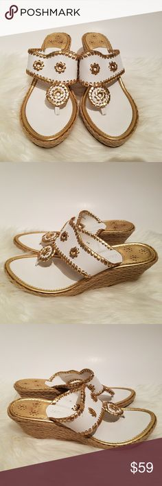 Jack Rogers Marbella Wedge Sandal This is a pair of Jack Rogers Marbella white and gold rope wedge thong sandals. Features: - leather uppers - gold whipstitch details - leather uppers - leather insole - lightlty cushioned footbed - rubber outersole worn a few times, some light wear to soles and a tiny gold paint mark on one side - see last photo 23xfda Jack Rogers Shoes Sandals