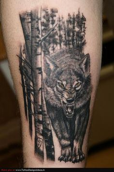 Wolf Tattoo. love the trees.