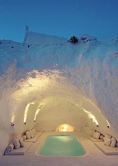 De-stress in this cave hot tub in Santorini, Greece. #BeforeYoureBoring #bucketlist #dieselbucketlist