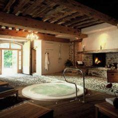 hot tub, fireplace