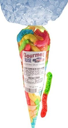 Gourmet Kruise Sampler Neon Sour Worms Gift Bag Packed Full Of Your Favorite Gummy Gummi 10oz *** BEST VALUE BUY on Amazon-affiliate link