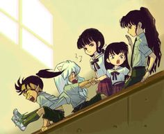 Koga, InuYasha, Kikyo, Kagome, and Naraku in uniforms at a school - InuYasha; fan art