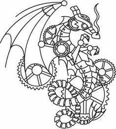 """Steampunk Wyvern design (UTH3309) from UrbanThreads.com 5.87""""w x 6.54""""h"""