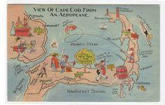Map of Cape Cod Massachusetts 1941 linen postcard - bidStart (item 30018146 in Postcards... Cape Cod)
