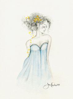 Original Fashion Illustration Pencil Drawing by ABitofWhimsyArt