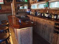 Used Man Cave Bar : My personal back bar project created pillars out of maple used