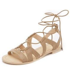 Rebecca Minkoff Greyson Gladiator Sandals (2.094.935 IDR) ❤ liked on Polyvore featuring shoes, sandals, taupe, leather sandals, leather shoes, ankle tie sandals, leather lace up sandals and stacked heel sandals