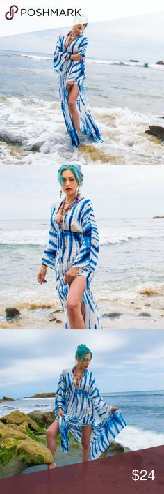 Forever 21 tie dye maxi dress kimono sleeve This forever 21 dress was only worn once for a photo shoot at the beach. Size small drawstring waist would fit a medium as well. Perfect for the beach or just around town. Double side slits. Forever 21 Dresses Maxi