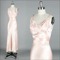 Vintage 1930s Dress . Pink Silk Satin . Sleeveless . Wedding . Braided Straps . XS/S/M . 2458. $415.00, via Etsy.