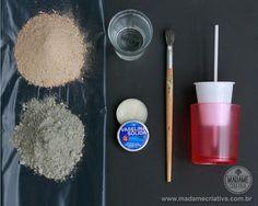 Material - Como fazer vasos de cimento - Passo a passo com fotos - How to make cement vases - DIY tutorial  - Madame Criativa - www.madamecriativa.com.br
