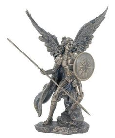 """Archangel Raphael in full color. Raphael is holding is shield and sword. Raphael is known as the angel of healing. Measures at 13.5"""" tall Made of resin and f"""