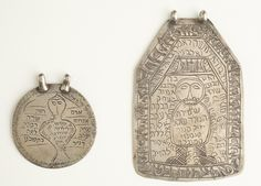 Two pendants for protection of newborn baby showing Lilith bound. From Iran, ca. 1890