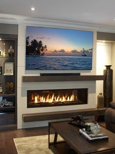 Stacked stone mantel with linear gas fireplace Fireplace Feature Wall, Tv Above Fireplace, Fireplace Tv Wall, Linear Fireplace, Cottage Fireplace, Family Room Fireplace, Modern Fireplace, Fireplace Surrounds, Fireplace Design