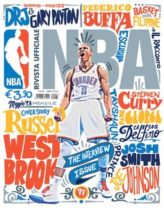 typographic cover on NBA Italia magazine Poster Design Layout, Design Brochure, Sports Graphic Design, Graphic Design Typography, Sport Design, Lettering Design, Editorial Design, Magazine Sport, Inspiration Typographie