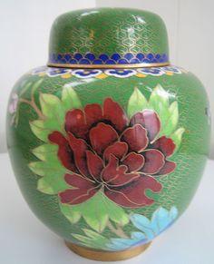 "Cloisonne Enamel Asian Oriental Antiques Ginger Jar Floral: Japanese Cloisonne.  6.25"" high"