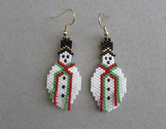 Beaded Snowman Earrings with red and green by DsBeadedCrochetedEtc, $18.00