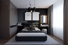 ДИЗАЙН СТУДИЯ А Бs photos – photos Bedroom Bed Design, Small Room Bedroom, Decoration Bedroom, Home Decor Bedroom, White Wall Decor, Black Gold Decor, House Makeovers, Round Beds, Apartment Interior